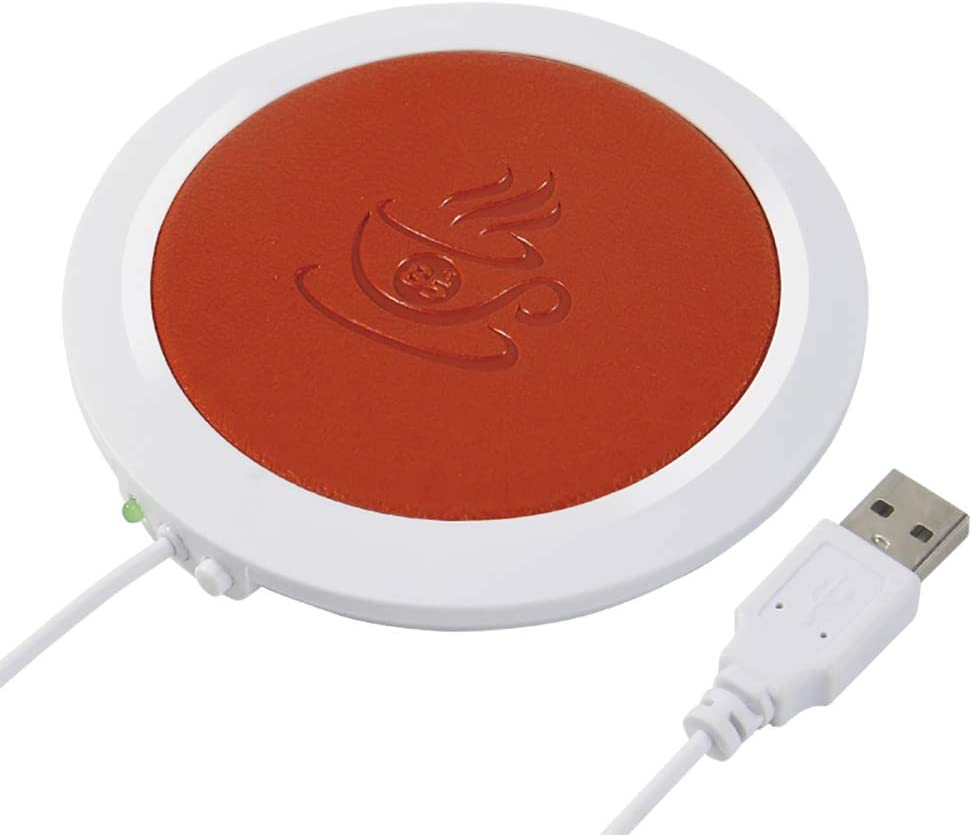 Coffee Mug Warmer, XMbest Beverage Warmer for Desk Auto Shut Off, PU Heat-resistant Electric Insulation USB Warm Cup Mat for Office