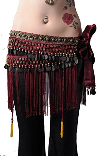 ZLTdream Women's Belly Dance Tribal Hip Scarf with Fringe Coins Flannel Dark Red, One Size