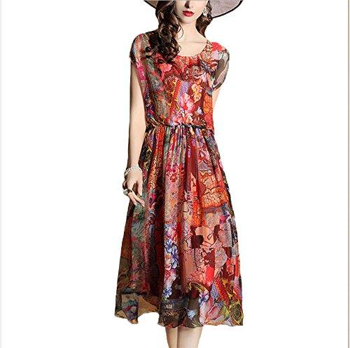 en en XL femmes manches Hippolo en robe soie courtes Rouge l'impression la longue mousseline imitation section Rouge de taille nouvelles de dans t soie grande 2017 de qqwtSTfxR