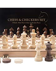 "A&A 15"" Folding Wooden Chess & Checkers Set w/ 3"" King Height Chess Pieces / 2 Extra Queen / Gift Tote Bag / German Knight Staunton Wooden Chessmen / Classic 2 in 1 Board Games"