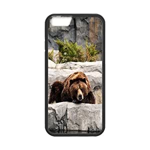 IPhone 6 Cases Grizzly Bear Zoo, IPhone 6 Cases Bear for Teen Girls Protective, [Black]