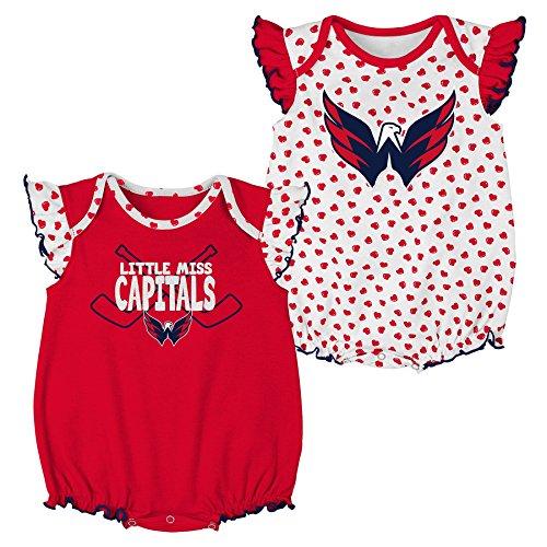 NHL Washington Capitals Newborn & Infant Hockey Hearts 2Piece Onesie Set, 24 Months, White