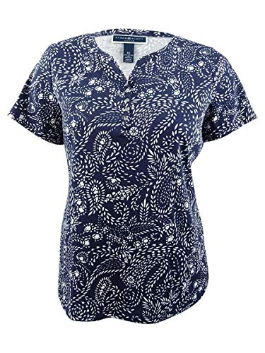 Karen Scott Womens Plus Casual Short Sleeves Henley Top Navy 1X (Scott Tops Karen)