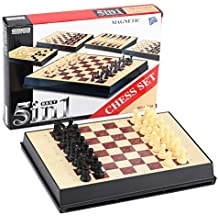 [5 in 1] Chess [intelligence test game] Travel Magnetic + Plastic Chess Backgmmon / Nine men's morris / Chess & Checkers / Checkers