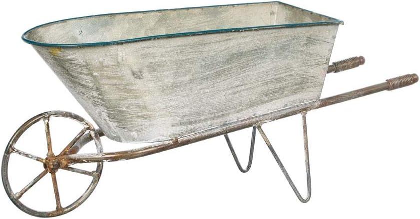 "Decorative Galvanized Metal Wheelbarrow Planter, 16"""