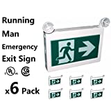 Running man Exit sign CET-180 CET-100 Thermoplastic sign combo Emergency light LED with 2 heads left right battery backup for 90 minutes 120v 347v universal mounting- Eboka (6, CET-180)