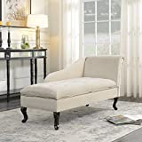 Belleze Nailhead Trim Velveteen Storage Spa Chaise Lounge Chair Tufted Couch for Bedroom Living Room Fold Open Lid, Beige