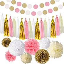 BASH STACK 35 Piece Pink White Ivory Gold Tissue Paper Pom Poms Flowers Tissue Tassel Glitter Garland Paper Garland Decor Kit for Wedding Bridal Shower Baby Shower Engagement First Birthday Party Decorations