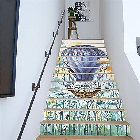 ZXL Pegatinas para escaleras, 13 Piezas/Set Creativo DIY 3D Escalera Pegatinas Color Patrón de Cabina para escaleras de la casa Decoración Escalera Grande Etiqueta de la Pared 18 * 100 cm FS05:
