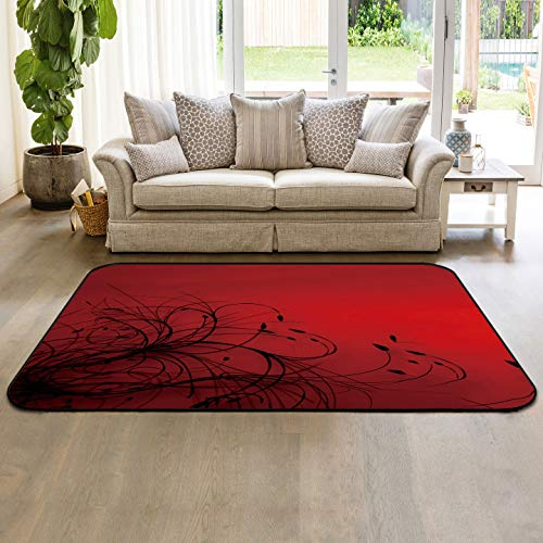 Modern Area Rug 5'x8' Non-Slip Rubber Backing Living Room Sofa Floor Carpets Indoor Throw Runner Rugs, Red Black Flower Abstract Wallpaper