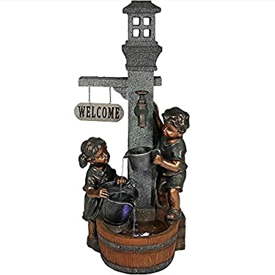 Sunnydaze Children Playing with Faucet Outdoor Water Fountain - Patio & Backyard Water Feature with LED Lights - 40 Inch… - BEAUTIFUL DETAIL & SIZE: Child outdoor fountain will bring elegance and charm to your front porch, garden, yard, or entryway; Measures 15 inches wide x 15 inches deep x 40 inches tall and weighs 27.5 pounds; The top bucket and middle bucket are 2 inches deep and the bottom basin is 3 inches deep DURABLE CONSTRUCTION: Garden fountain is made from polyresin, which is easy to maintain and long-lasting; The children statue is painted with a metallic brass colored paint, adding to the realistic sense of the waterfall fountain SOOTHING WATER SOUNDS: Sit back, relax, and enjoy the peaceful sounds of the patio water fountain as water gently comes of the faucet, pours into the buckets and basin, then recirculates back up; includes submersible electric pump, 1/2 inch hose, and two LED lights - patio, outdoor-decor, fountains - 51ELDVyxT2L. SS400  -