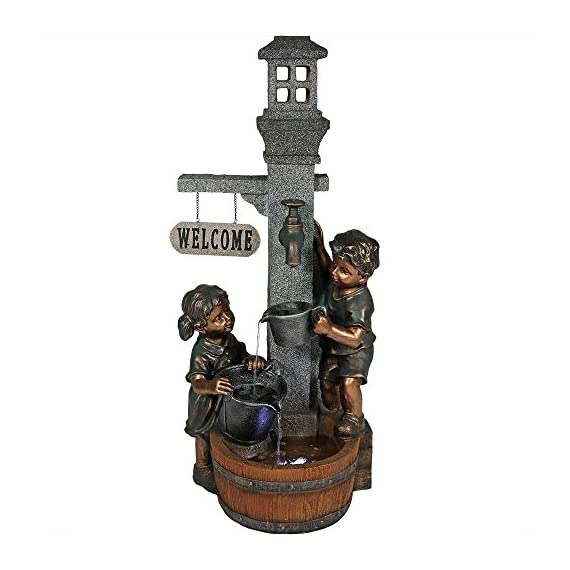 Sunnydaze Children Playing with Faucet Outdoor Water Fountain - Patio & Backyard Water Feature with LED Lights - 40 Inch Tall - OVERALL DIMENSIONS: 15 inches wide x 15 inches deep x 40 inches tall, weighs 27.5 pounds; Top bucket and middle bucket are 2 inches deep, bottom basin is 3 inches deep DURABLE CONSTRUCTION: Made from a polyresin material that is easy to maintain; The children statues are painted with a metallic brass colored paint, adding to the realistic sense of the fountain INCLUDES: Fountain, submersible electric WP350LV pump with 1/2 inch hose diameter, and two LED lights; One is electric and located in the bottom basin and one is solar and located in the top window - patio, outdoor-decor, fountains - 51ELDVyxT2L. SS570  -