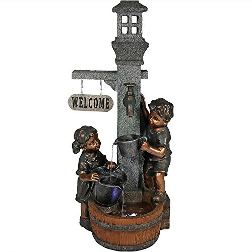 Sunnydaze Children Playing with Faucet Outdoor Water Fountain - Patio & Backyard Water Feature with LED Lights - 40 Inch Tall