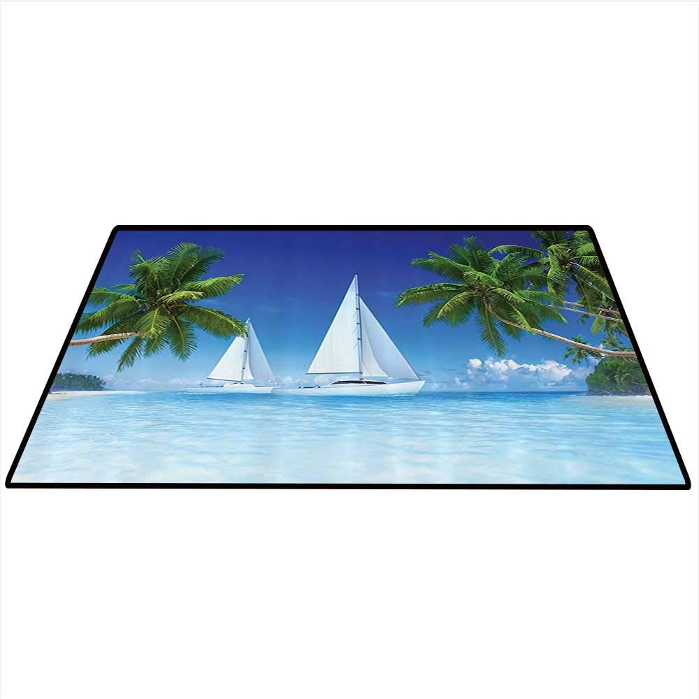 Tropical Palm Trees and Ocean Houseboat Decor Collection Dining Room Home Bedroom Carpet Nautical Window Scenery Sailboat Sea Life Seascapes Caribbean Artwork Home Decor Area Rug 4