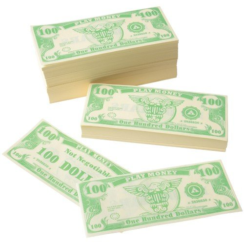 US Toy Play Money $100 Dollar Bill (1,000 pcs), 6 x 2 1/2 inches by USToy