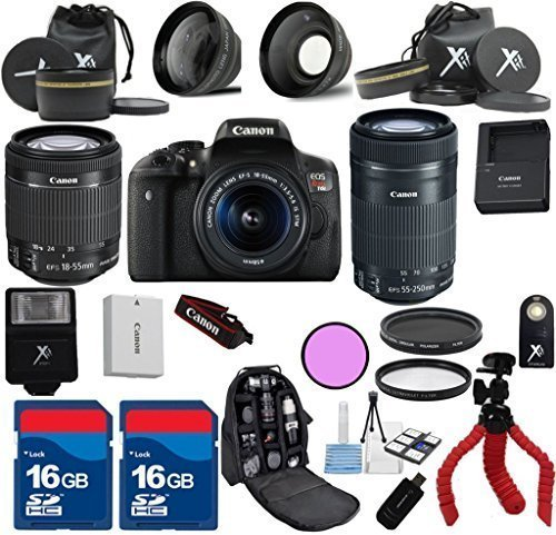 Canon T6i Camera Body with 18-55mm IS STM Lens + 55-250mm IS STM Zoom +Carry Case + XIT 3Pc Filter Kit + XIT Wide Angle Lens + XIT Telephoto Lens +22pc Accessory Kit - International Version