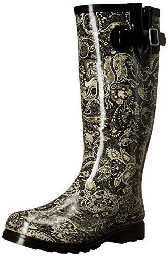 Nomad Women's Puddles Rain Boot, Black/White Paisley, 5 M ()