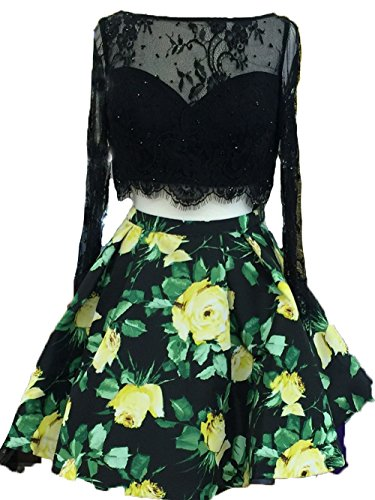 BessDress Long Sleeve Homecoming Dresses Two Piece Floral Cocktail Party Dresses ()