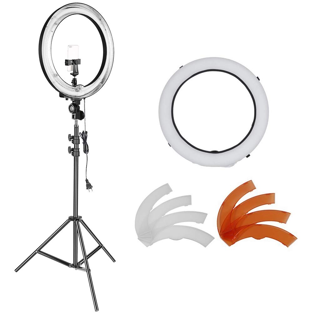 Neewer 14-inch Outer 12-inch Inner Dimmable Ring Light Lighting Kit - 50W Fluorescent Continuous Ring Light, Light Stand, Ball Head,Filter for Portrait Makeup Photography YouTube Studio Video Shooting 10091075@@##1