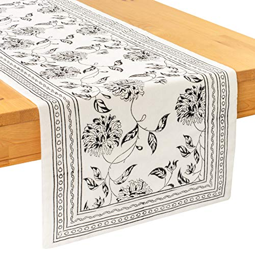 Black & Off White Table Runners for Long Tables (100% Cotton, Floral Hand Block Print, 14x120 inch, Pack of 1) Fabric Lined | No Fray Edges | for Home, Kitchen, Dining Room, Holiday Party Décor