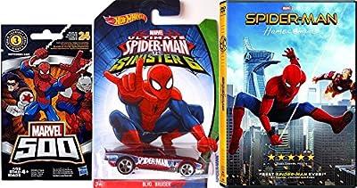 Spider-Man Sinister 6 Hot Wheels & Homecoming DVD Movie Bundle + Mini Figure Marvel 500 Blind Bag Exclusive set
