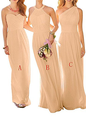 Prom Bridesmaid BOwith Dress Party for Women Champagne Dresses Wedding Long B Chiffon Gown rrwZx105