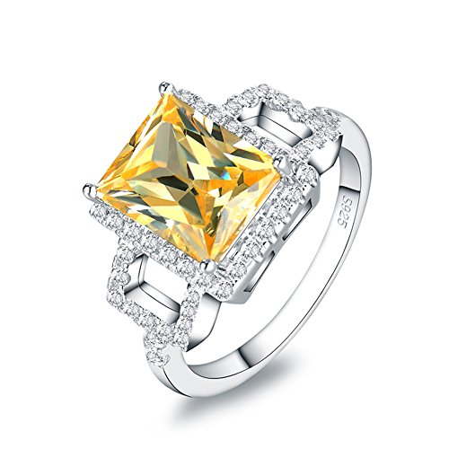 Mozume Radiant Yellow CZ Promise Ring Enhancer Cocktail 925 Sterling Silver Wedding Solitaire Band (Cocktail Radiant Ring)
