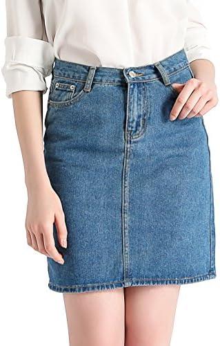 Beluring Womens Denim Jeans Bodycon Midi Skirt with Pockets