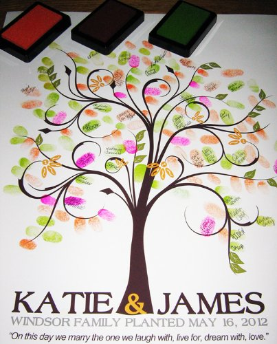 20X24 Wedding Fingerprint Guest Book Tree, Thumbprint Tree Guest Book, Tree stamp Poster