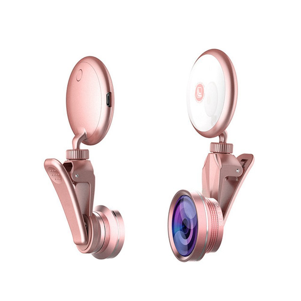 Selfie Ring Light Phone Camera Lens, Rechargeable Ringing flashlight Front Camera LED Circle mini Light [Wide Angle+Macro, Fisheye Lens] for iPhone 6, 7, 8, X Plus, Samsung Galaxy S7 Edge (Rose gold) WISE WORLD