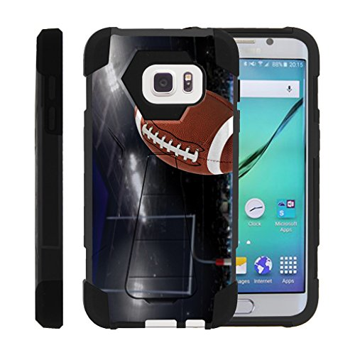MINITURTLE Case Compatible w/Galaxy S7 Cover | High Impact Dual Layer Stand Phone Case Football Samsung S7 Pefect Spiral