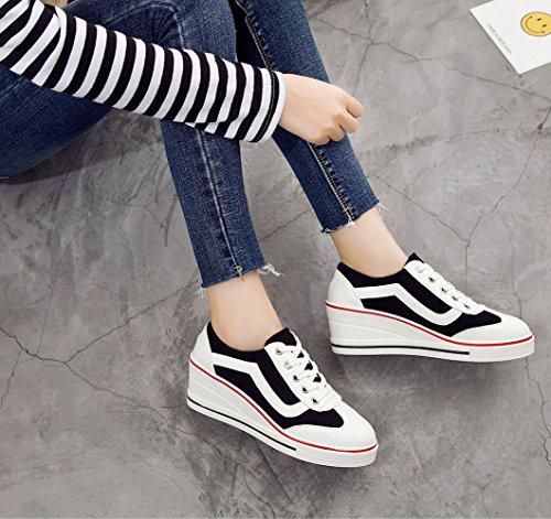 Women Basse De Noir Taille Fermeture Shoes Chaussure En Compensé Mode Lacets Femme Chaussures Sneakers Toile Baskets Sport xIrInPFwaq