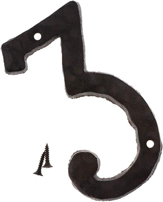 non-brand 0~9 Letrero de N/úmero 3D de Hierro Forjado Vintage con Tornillos de Montaje Adorno para Hogar N/úmero 2