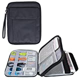 Damero Electronics Organizer with 9.7'' iPad Sleeve Case/ Travel Accessories Bag for Passport, Business Cards & Document Case, Black