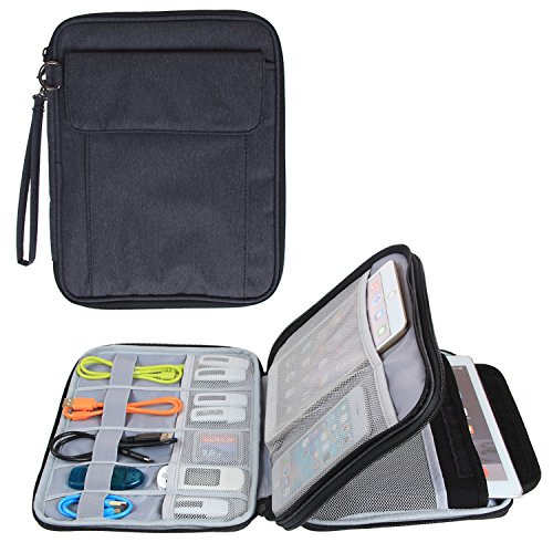 Damero Double Layer Electronics Organizer, Travel Accessories Carry Bag with 9.7''iPad Sleeve for Passport, Business Cards, Document, Pens, Smart Design and Premium Quality, Black