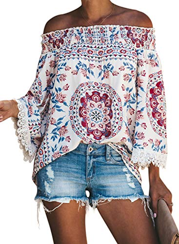 (Asvivid Womens Ethnic Printed Tops Off The Shoulder Lace Crochet Kimono Sleeve Loose Work Blouses Plus Size 1X)