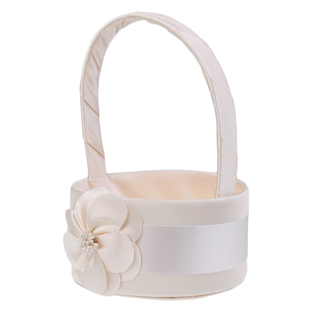 MonkeyJack Elegant Simple Flower Champagne Satin Basket Wedding Ceremony Flower Girl Basket Party Home Decoration by MonkeyJack