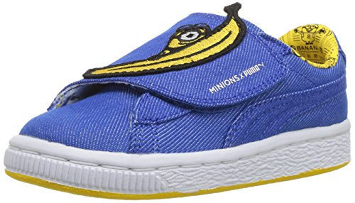 (PUMA Baby Minions Basket Wrap Statement Leather Kids Sneaker, Lapis Blue Yellow, 4 M US Toddler)
