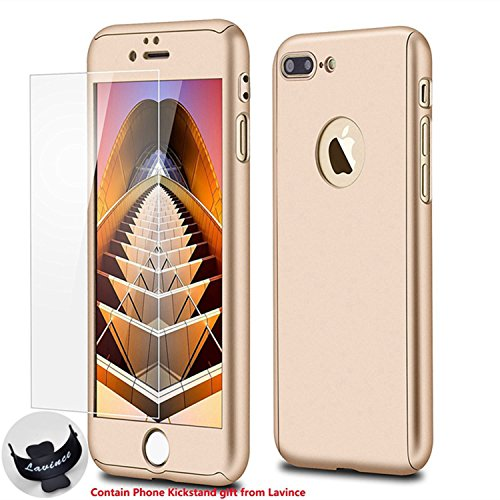 Phone 7 Plus Case,Lavince Full Body Protection Hard Slim Cover[Dual Layer]with Tempered Glass Screen Protector for iPhone 7 Plus 5.5inch(Gold)
