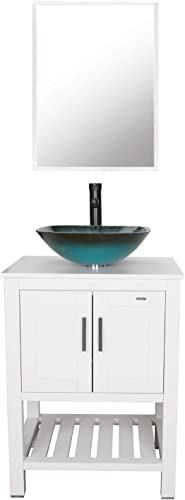 eclife 24 Bathroom Vanity Sink Combo White Cabinet Vanity Turquoise Square Tempered Glass Vessel Sink 1.5 GPM Water Save Faucet Solid Brass Pop Up Drain