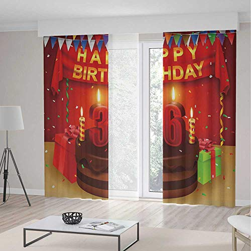 YOLIYANA Window Curtains 36th Birthday Decorations Celebration Party with Cake Candles and Presents Print