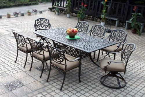 "Darlee Elisabeth Cast Aluminum 9 Piece Dining Set with Seat Cushions, 44"" X 84"", Antique Bronze Finish"