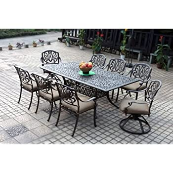 Amazon.com: Darlee Elisabeth Cast Aluminum 9-Piece Dining Set with ...