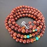 6mm*108 Red SandalWood Prayer Beads Buddhist Necklace Meditation Mala