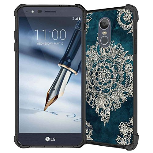 LG Stylo 3 Case, LG Stylo 3 Plus Case, LG Stylus 3 case, ABLOOMBOX Seamless Mandala Floral Pattern Shock Absorption Soft Bumper Slim Rubber Protective Case Cover for LG LS777