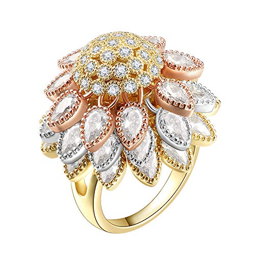 Petal Design Ring - Lavencious Flower Design 3 Layers Dangle Petals Gold/Rhodium Plated Cocktail Ring for Women Girls (3T, 9)