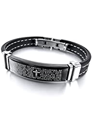 TEMEGO Jewelry Mens Rubber Stainless Steel Bracelet, Cross Prayer Cuff Bangle, Black