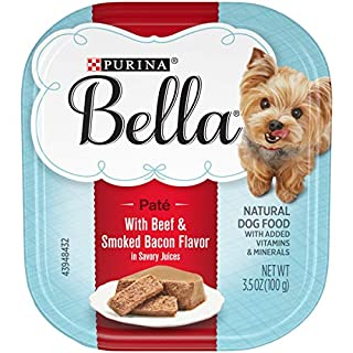 Purina Bella Natural Small Breed Pate Wet Dog Food, With Beef & Smoked Bacon in Savory Juices - (12) 3.5 oz. Trays