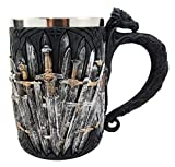 Ebros Medieval Dragon Iron Throne Of Swords Mug Beer Stein Tankard Coffee Cup 5.25''H
