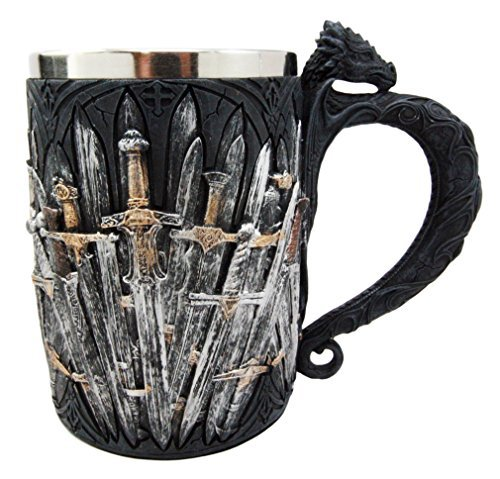 Ebros Medieval Dragon Iron Throne Of Swords Mug Beer Stein Tankard Coffee Cup 5.25